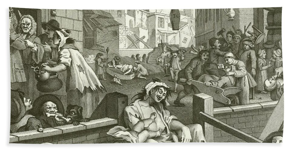 Beer Street and Gin Lane Bath Towel for Sale by William Hogarth
